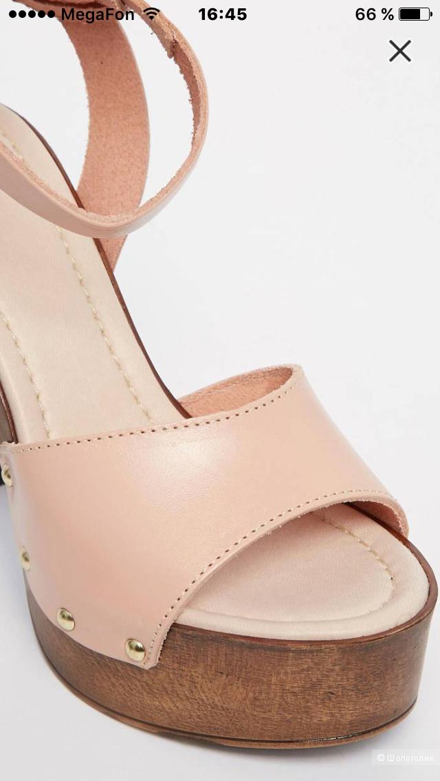 Кожаные босоножки на каблуке ASOS TIMER (5uk / 38eur)