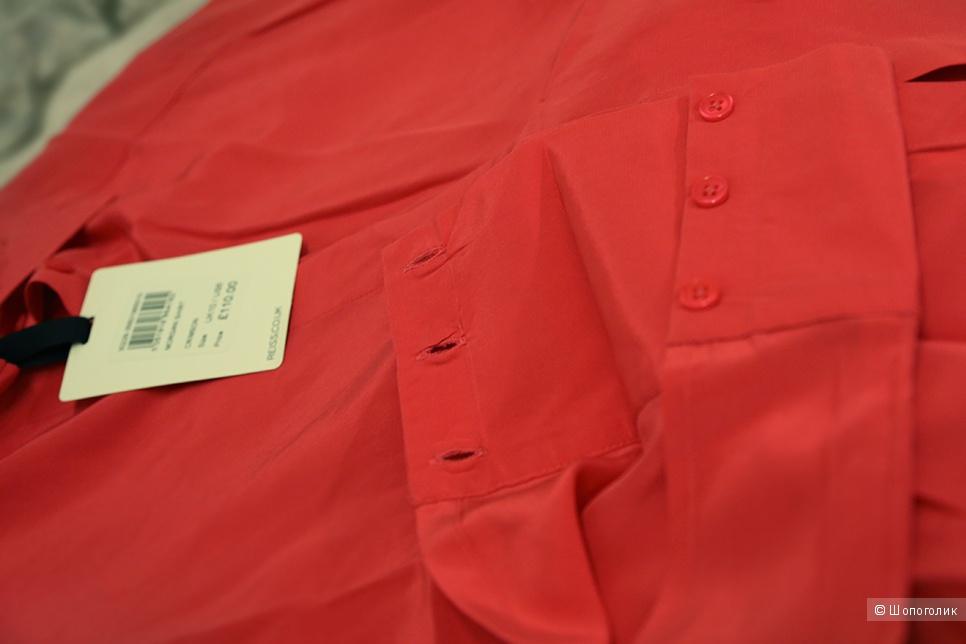 Шелковая блузка, красная с розовым отливом, UK10, REISS