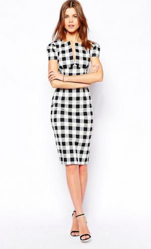 Новое платье-футляр в чёрно-белую клетку ASOS (14 UK)