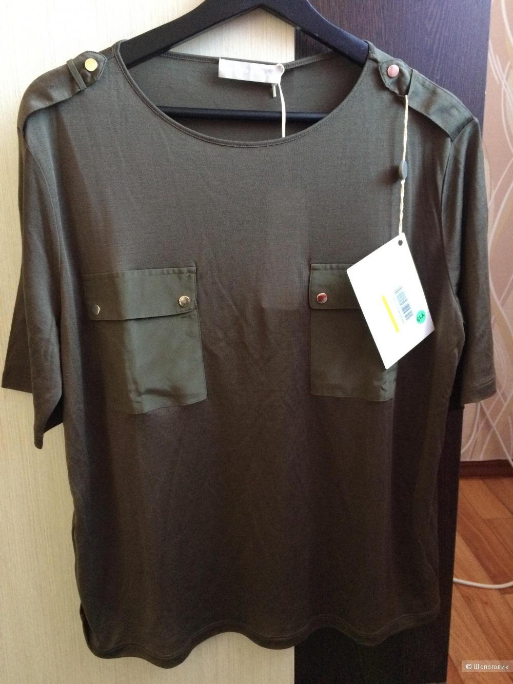 Stefanel шелковая блузка( футболка) XL.