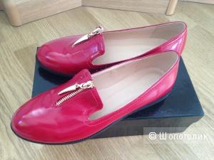 Лоферы красные кожаные, размер 38