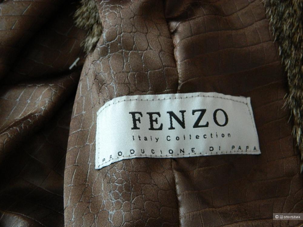 Жилет FENZO из цельных шкурок рыси с элементами кожаной отделки, размер 44/46