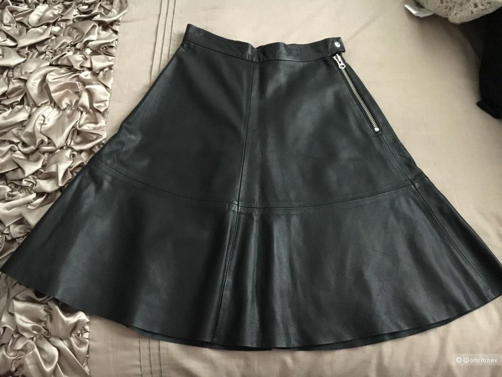 Юбочка из натуральной кожи H&M  черная  размер 34 EU 4 USA (маленькая)