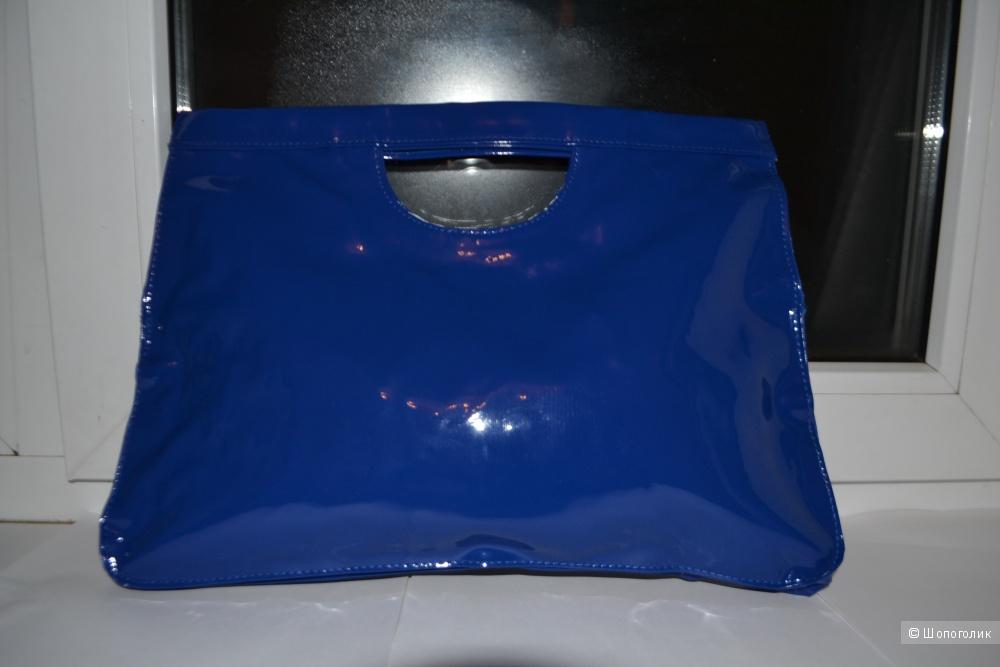 """Новый синий  клатч / сумка  под """"лакированную кожу"""""""