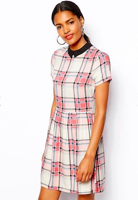 Новое платье в бело-розовую клетку River Island (6 UK)