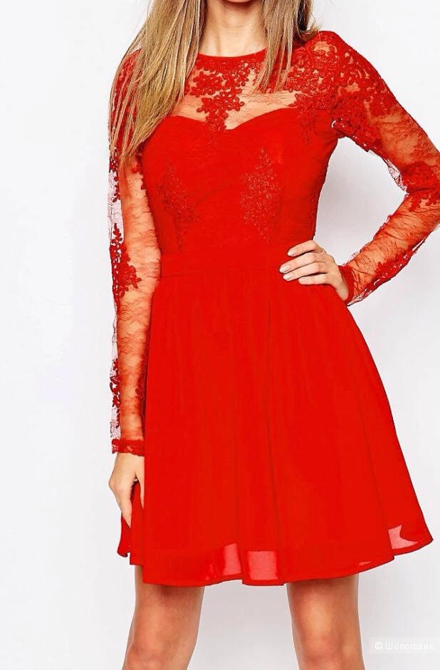 Кружевное приталенное платье с длинными рукавами Missguided Premium, размер 46
