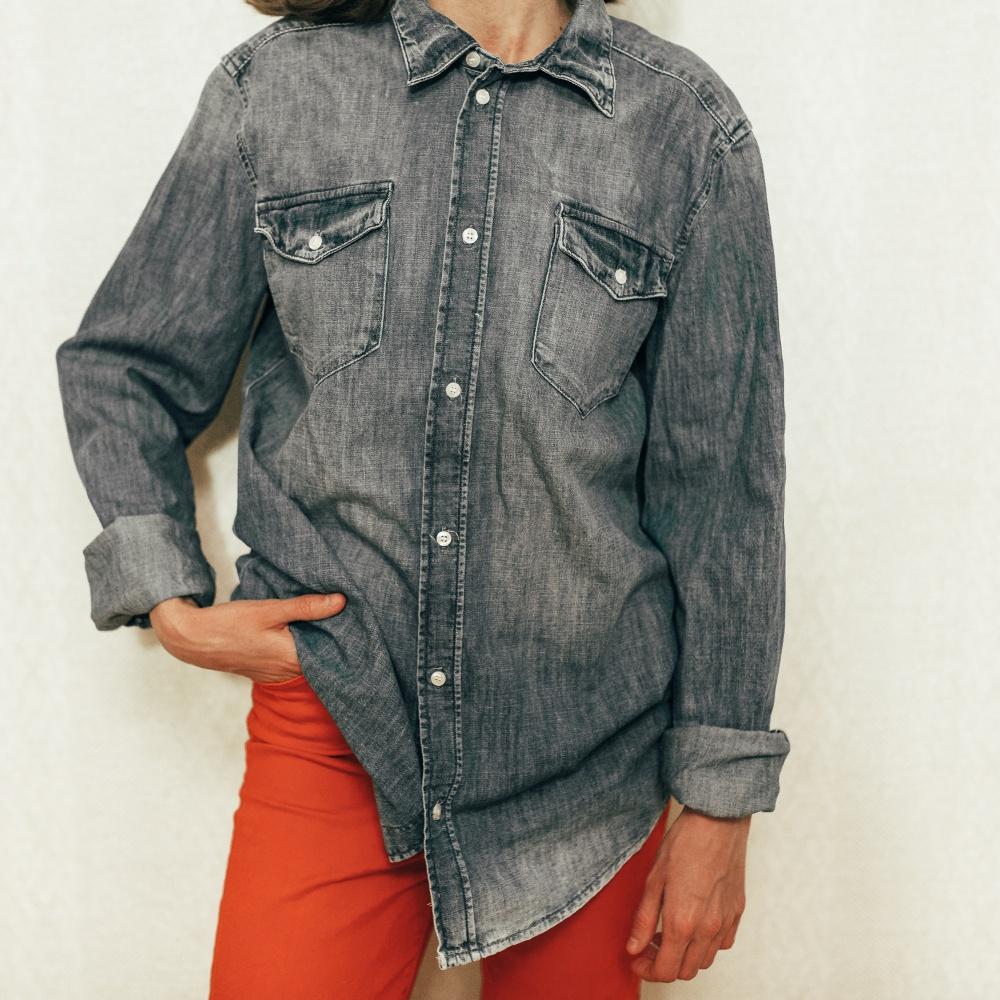 Джинсовая рубашка HM размер eu36