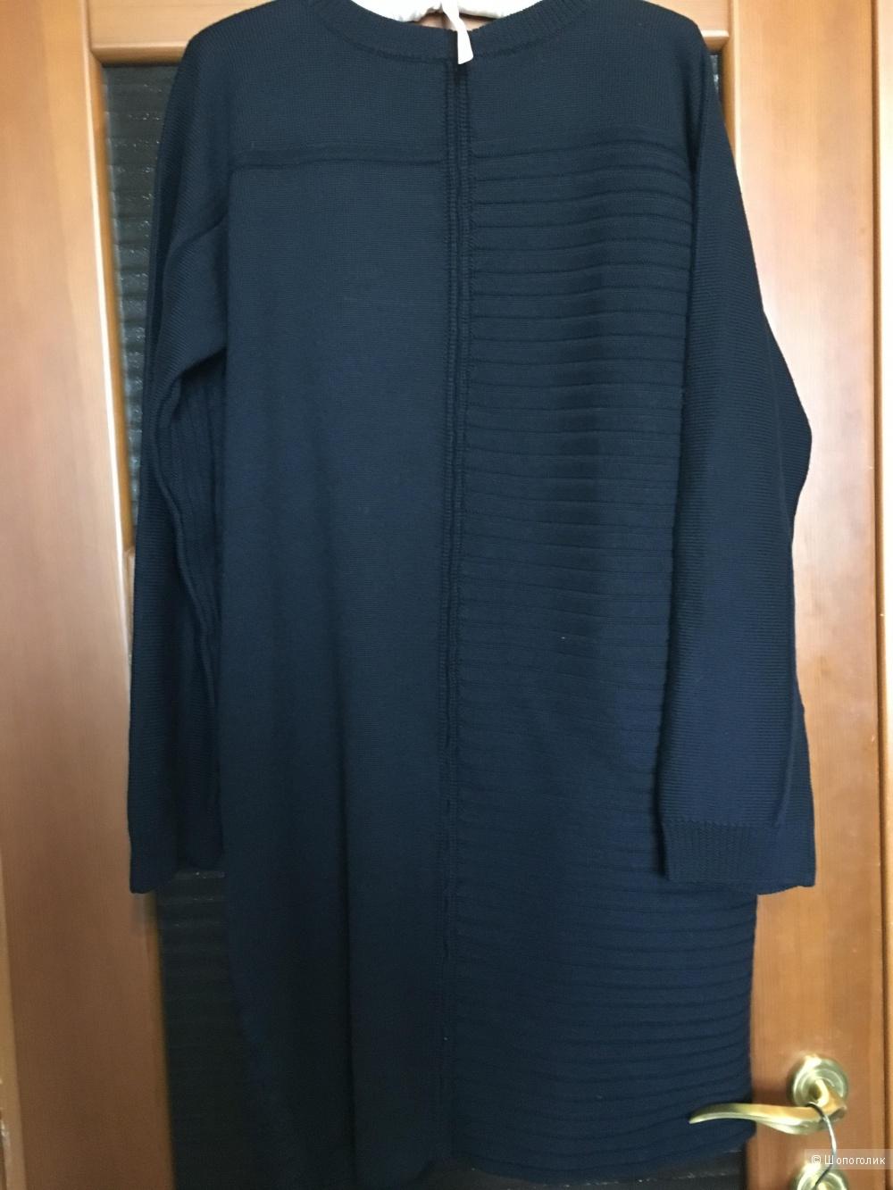 Теплое платье из шерсти мериноса ALPHA STUDIO, 50 (Рос. р-р), 48 (IT) Темно-синий