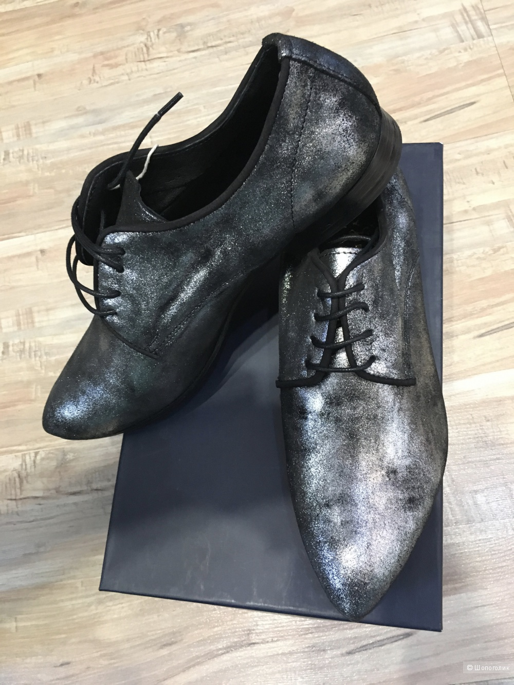 Кожаные туфли на шнуровке LADY KIARA 38 (Европейский Размер) Серебристый, 24,5 см
