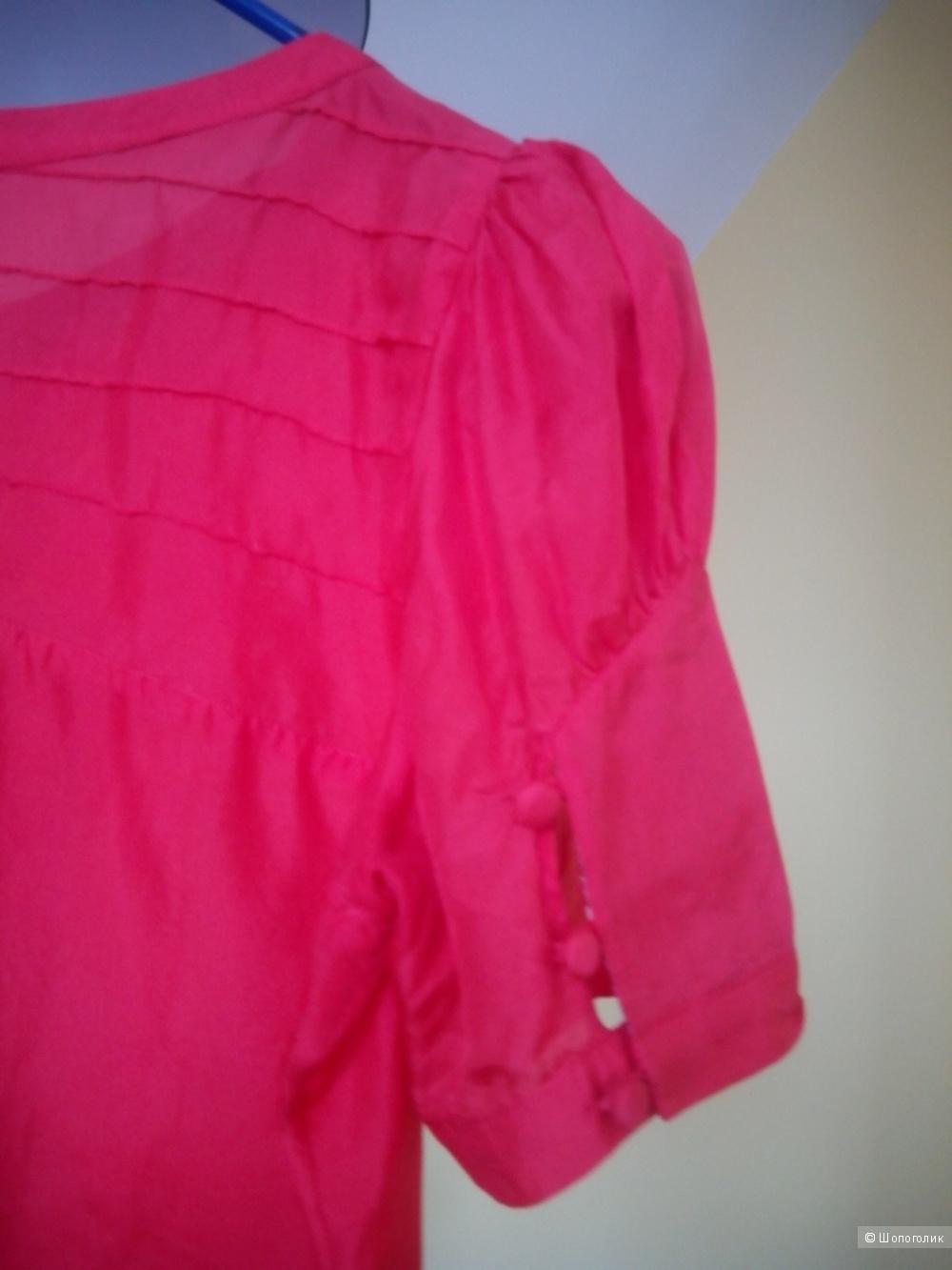 Красивая красно-коралловая блузка из натурального шелка Pepe Jeans размер М