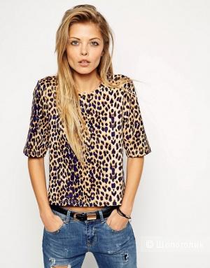 ASOS Premium топ леопардовый принт UK 8