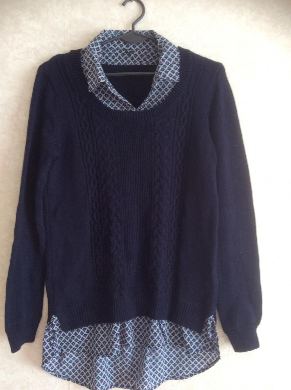 Новый свитер со вшитой рубашкой Zolla размер S
