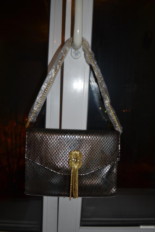 Новая сумка клатч под змеиную кожу