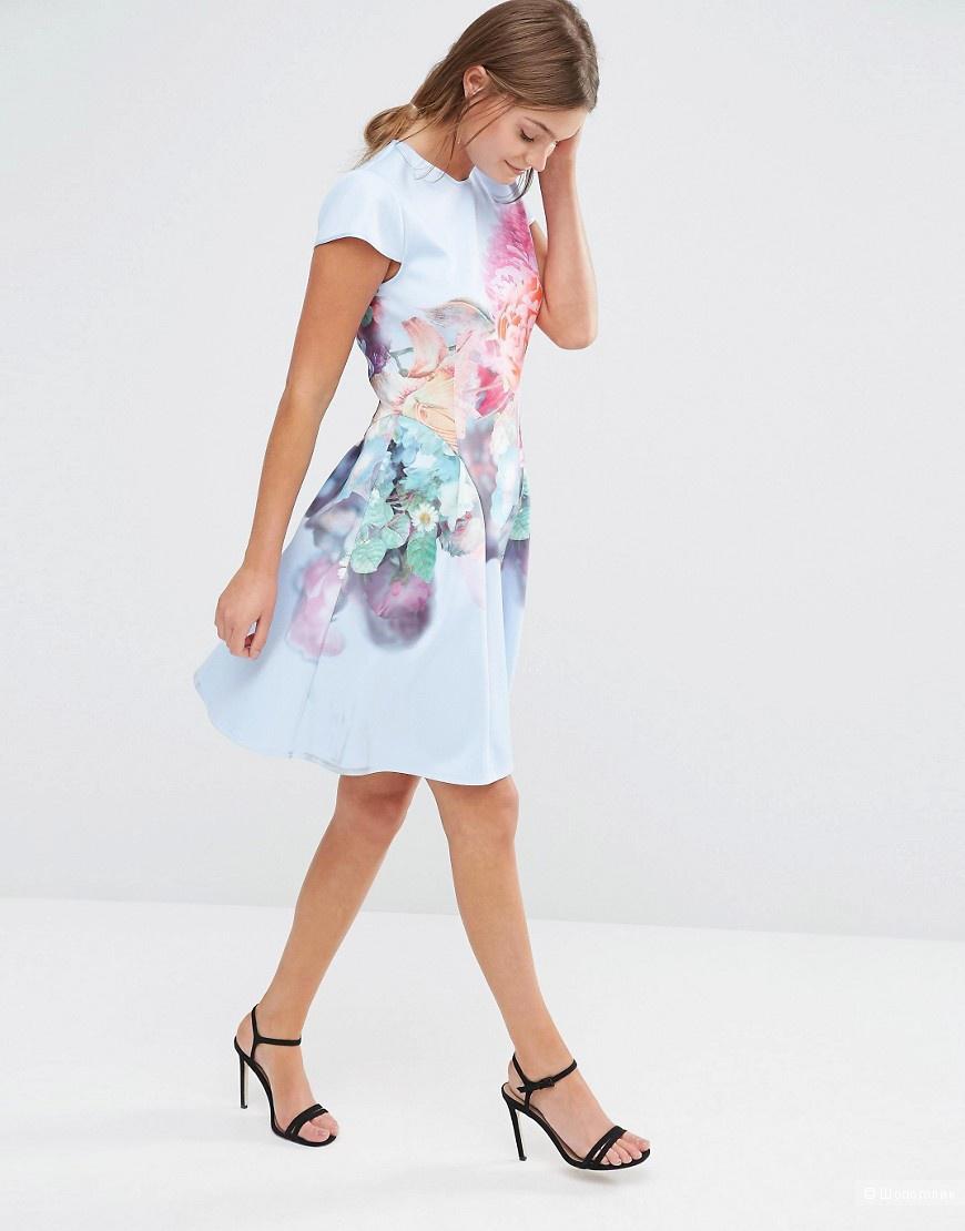 Приталенное платье с принтом Ted Baker Bowkay новое 3 (46 росс)