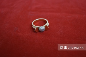Дизайнерское кольцо из лимонного золота с бриллиантами,  Италия, ручная работа, новое.