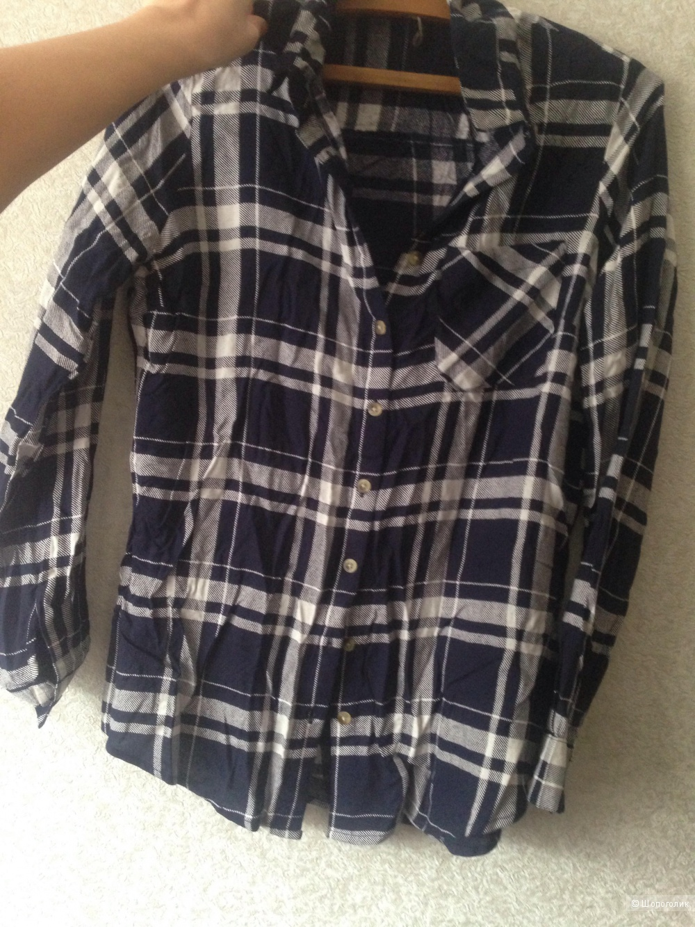 Синяя рубашка в клетку,Boohoo,  размер 44-46