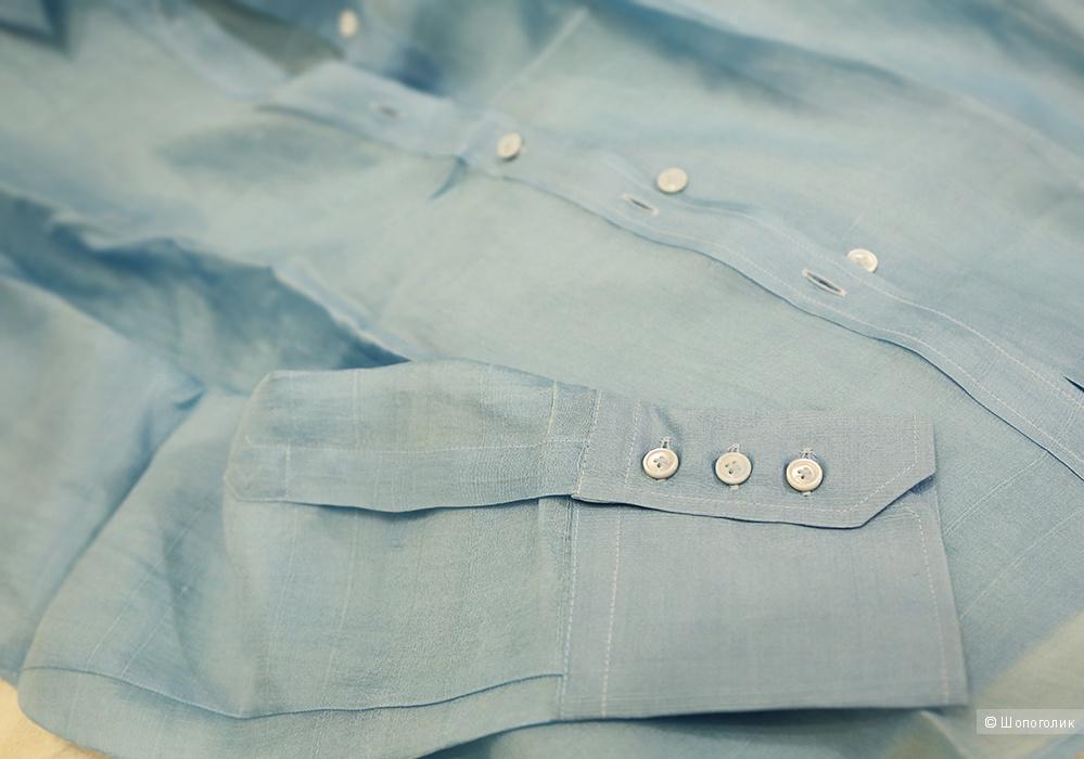 Шелковая блузка небесно-голубая 44IT, Италия, Guy Rover