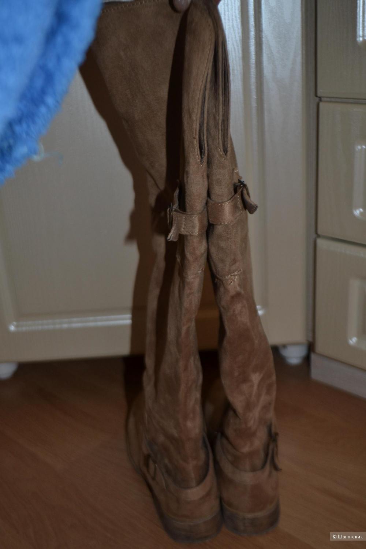 Сапоги под замшу, 39 размер, бежевый цвет