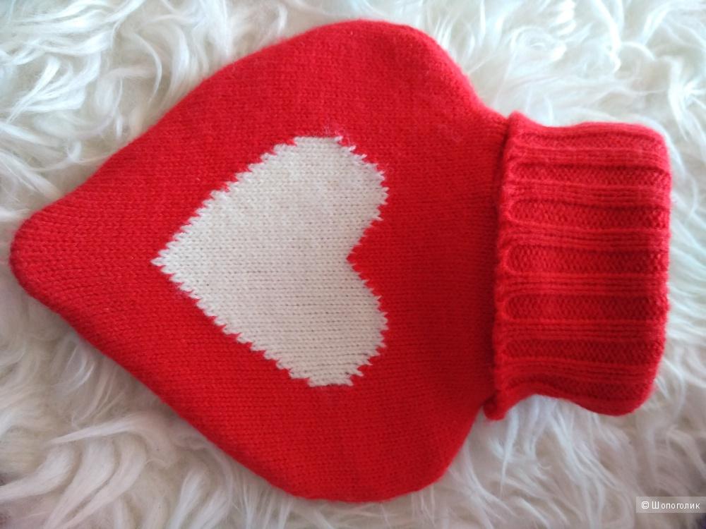 Грелка в форме сердца в вязаном чехле