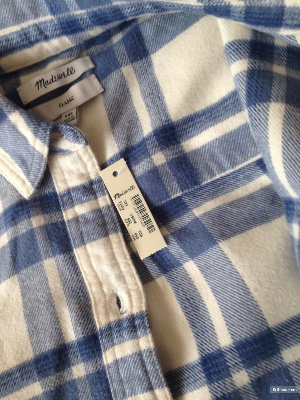 Рубашка в клетку от madewell 100% хлопок, xs-s