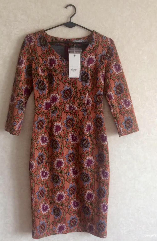 Новое платье из плотного трикотажа с цветочным рисунком XS