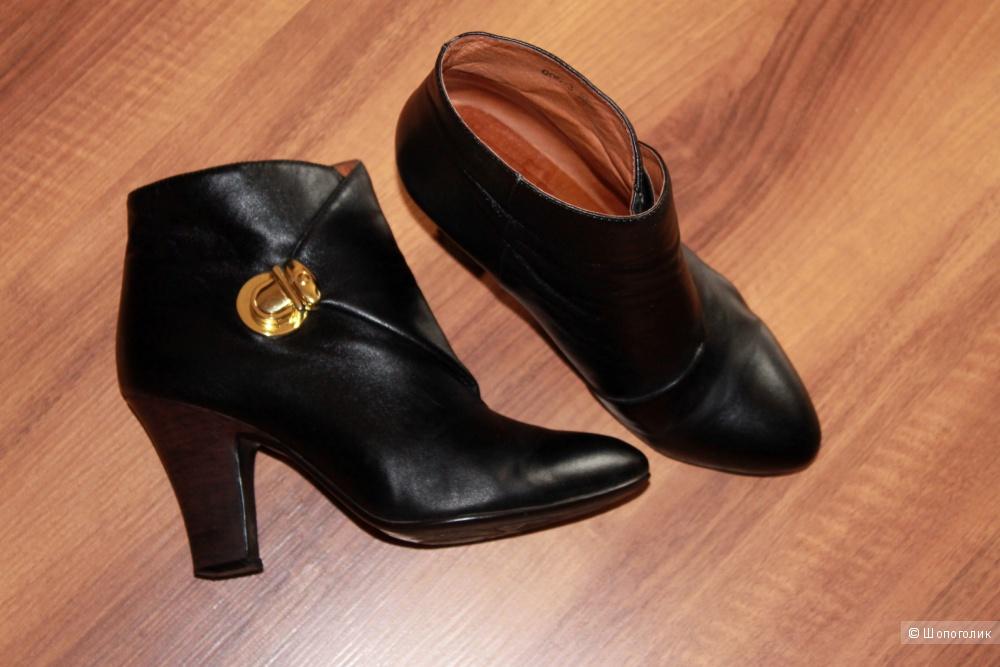 Чёрные Ботинки Ботильоны Кожа 38 размер