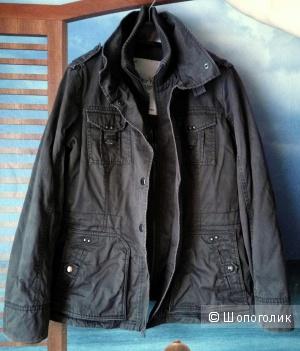 Женская серо-коричневая демисезонная куртка в стиле милитари от Esprit (XL)