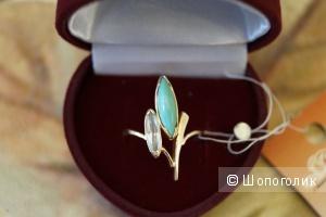 Золотое кольцо с бирюзой и белым топазом, новое, размер 17.5