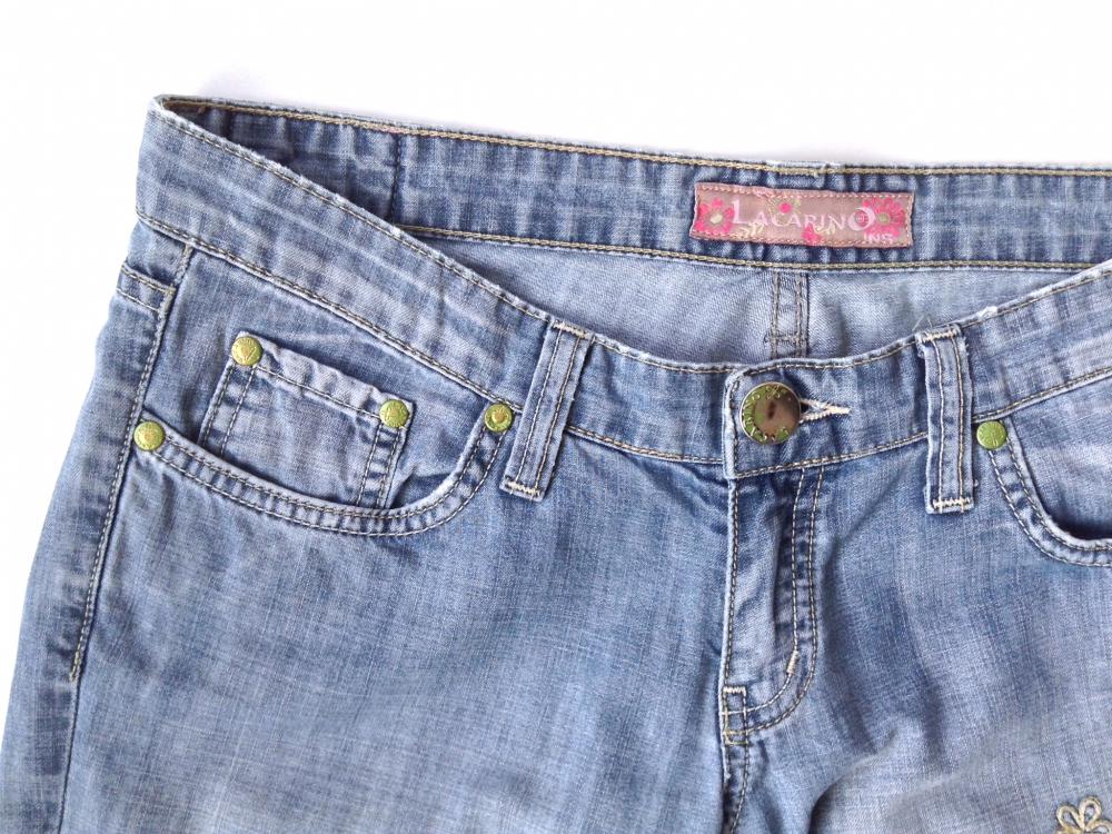Светлые летние джинсы из хлопка, с вышивкой, прямой крой, на 42-44, Lacarino, Турция
