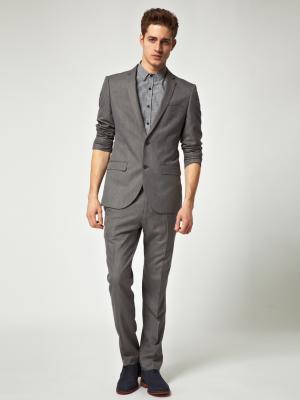Классические мужские брюки, серые, на 46 (32/32) р., River Island, б/у 1раз