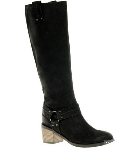 Известные сапоги ASOS CHOCOLATE CHIP Leather Knee High Boots with Mid Heel UK6