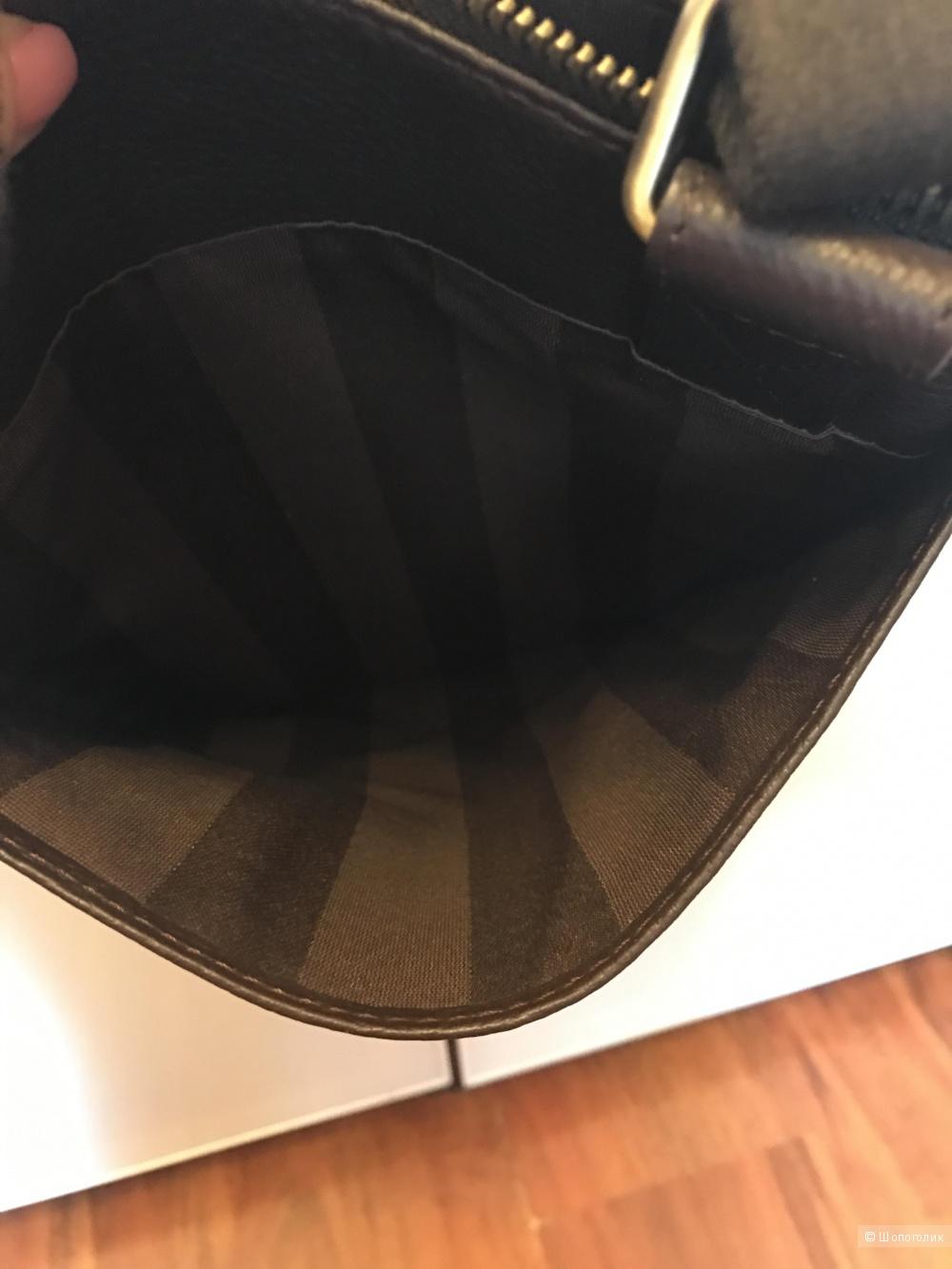 Новая кожаная мужская сумка-планшет цвет темно- коричневый фурнитура бронза бренд VF+ Подарок