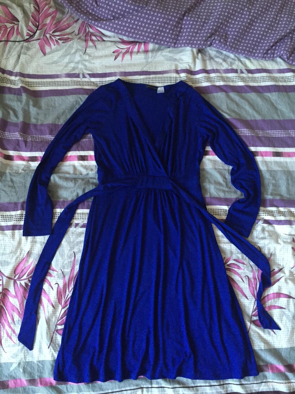Ярко-синее платье из вискозы, 46-48р