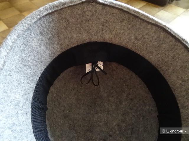 Шляпка-котелок, размер 57, 100% шерсть в сером цвете