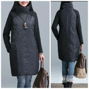 Стеганное теплое платье-водолазка