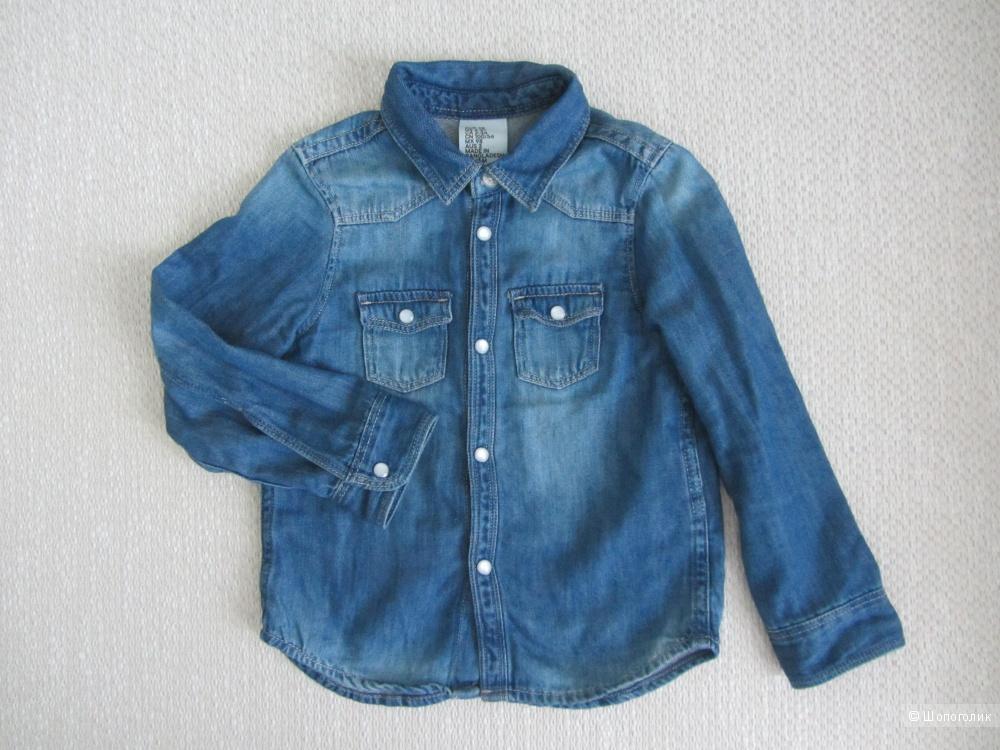 Рубашка джинсовая H&M, маркировка 98