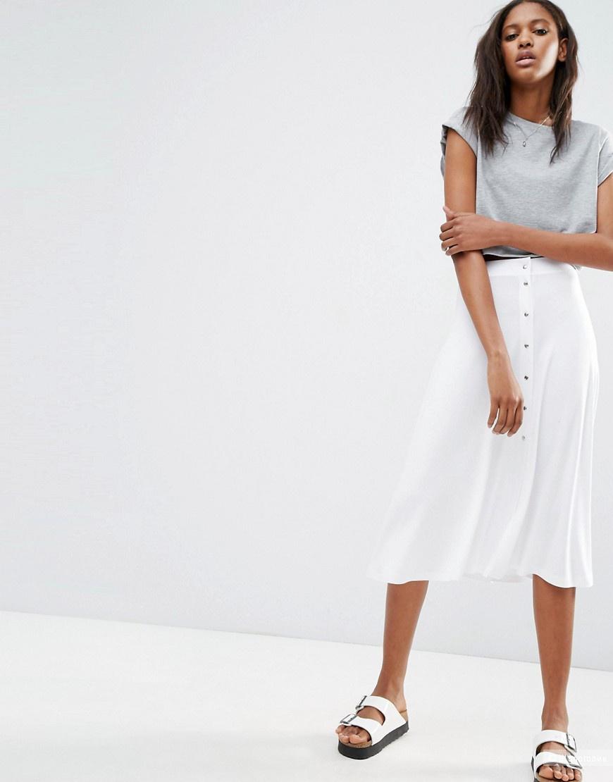 Новая белая юбка с кнопками ASOS (длина - миди), маркировка 10