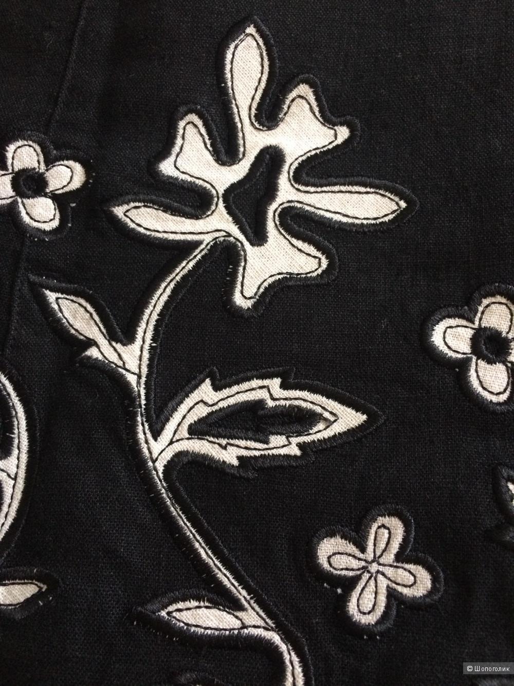 Льняная юбочка с вышивкой, размер 46