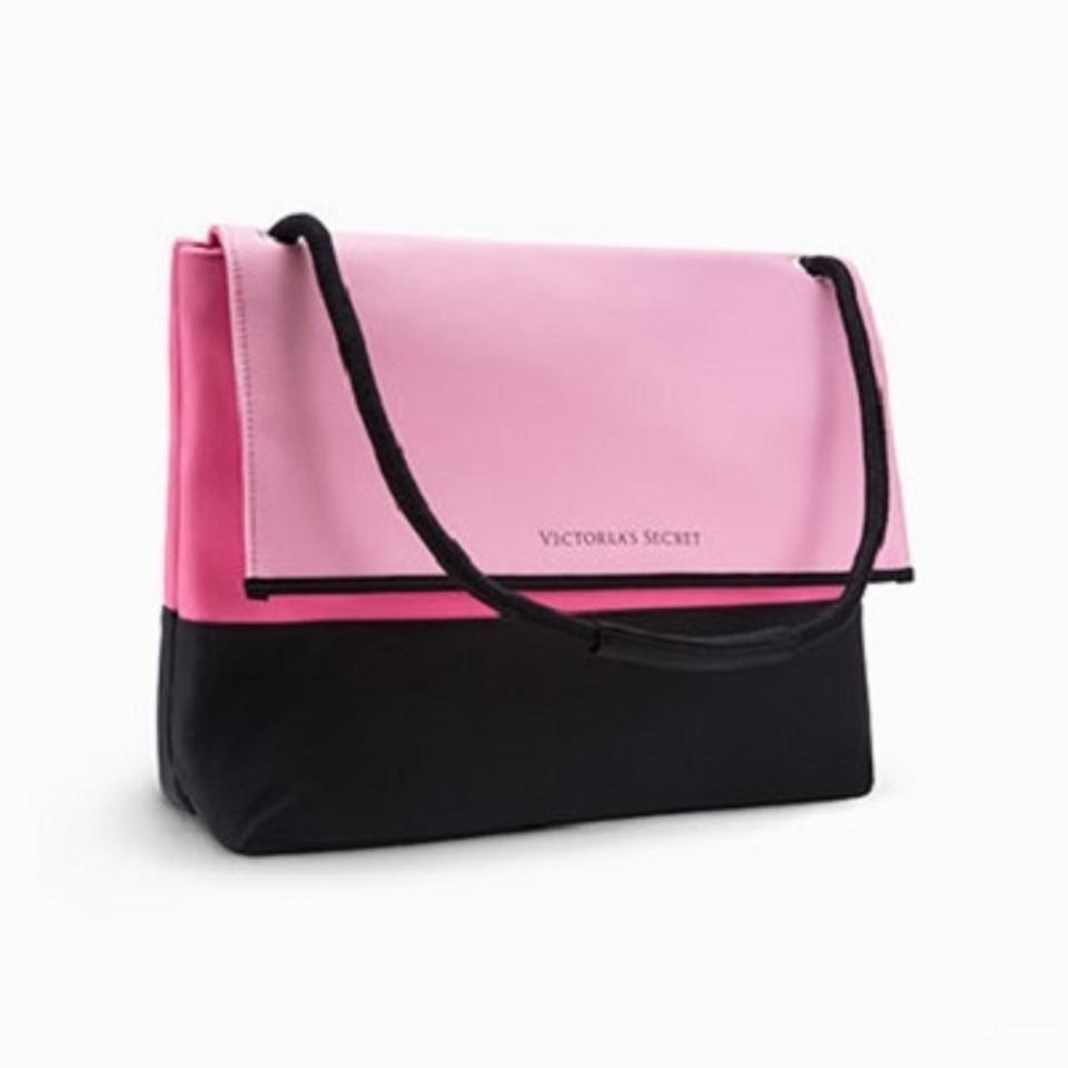 Victoria's Secret пляжная сумка - холодильник (кулер), розовая с черным