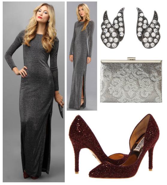 Вечернее платье серого цвета Ted Baker / S-M