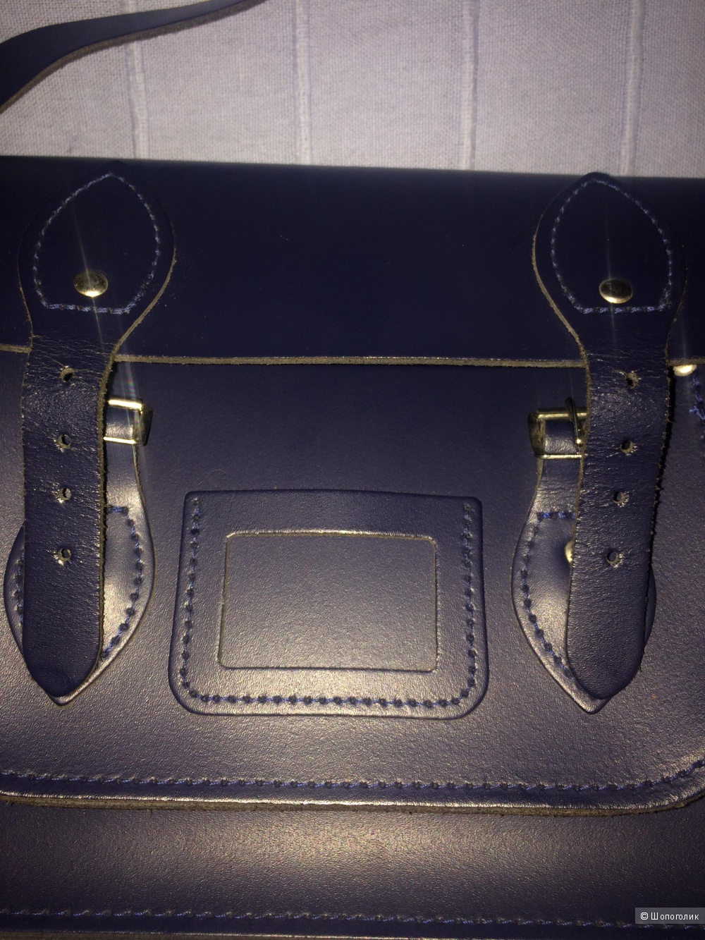 The leather satchel co темно синий 12.5