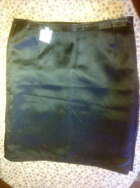 1997HELMUT LANG  leather skirt with a spiral seam( UK10, US8)