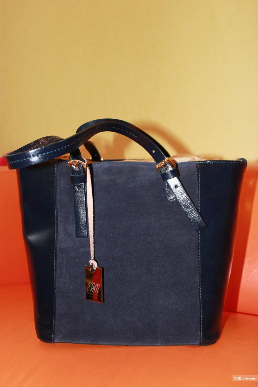 Новая кожаная итальянская сумка Emilio Masi темно-синего цвета