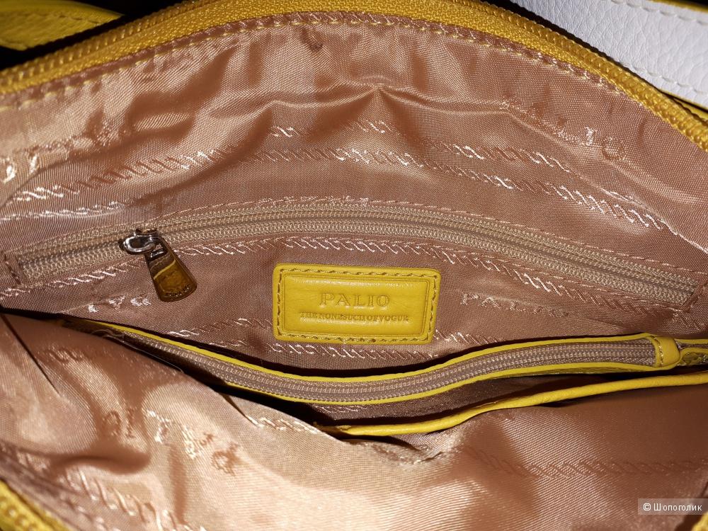 Сумка-планшет из мягкой кожи Palio желтого цвета новая