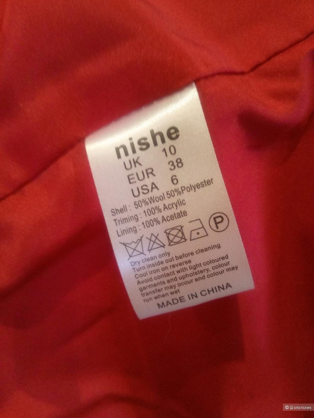 Двубортное пальто с отделкой из искусственного меха Nishe, UK 10