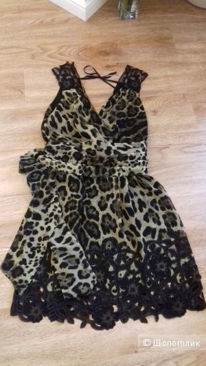 Крепдешиновое коктейльное платье - сарафан с поясом, размер 40-42