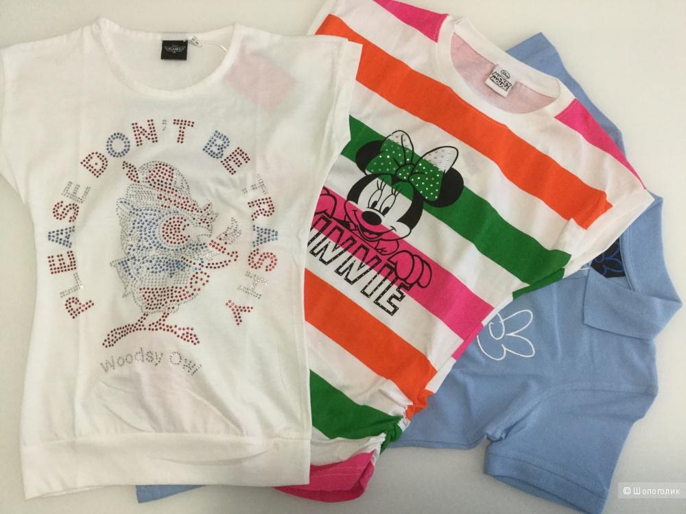 Поло + 2 футболки, для девочки, на 8 лет, хлопок