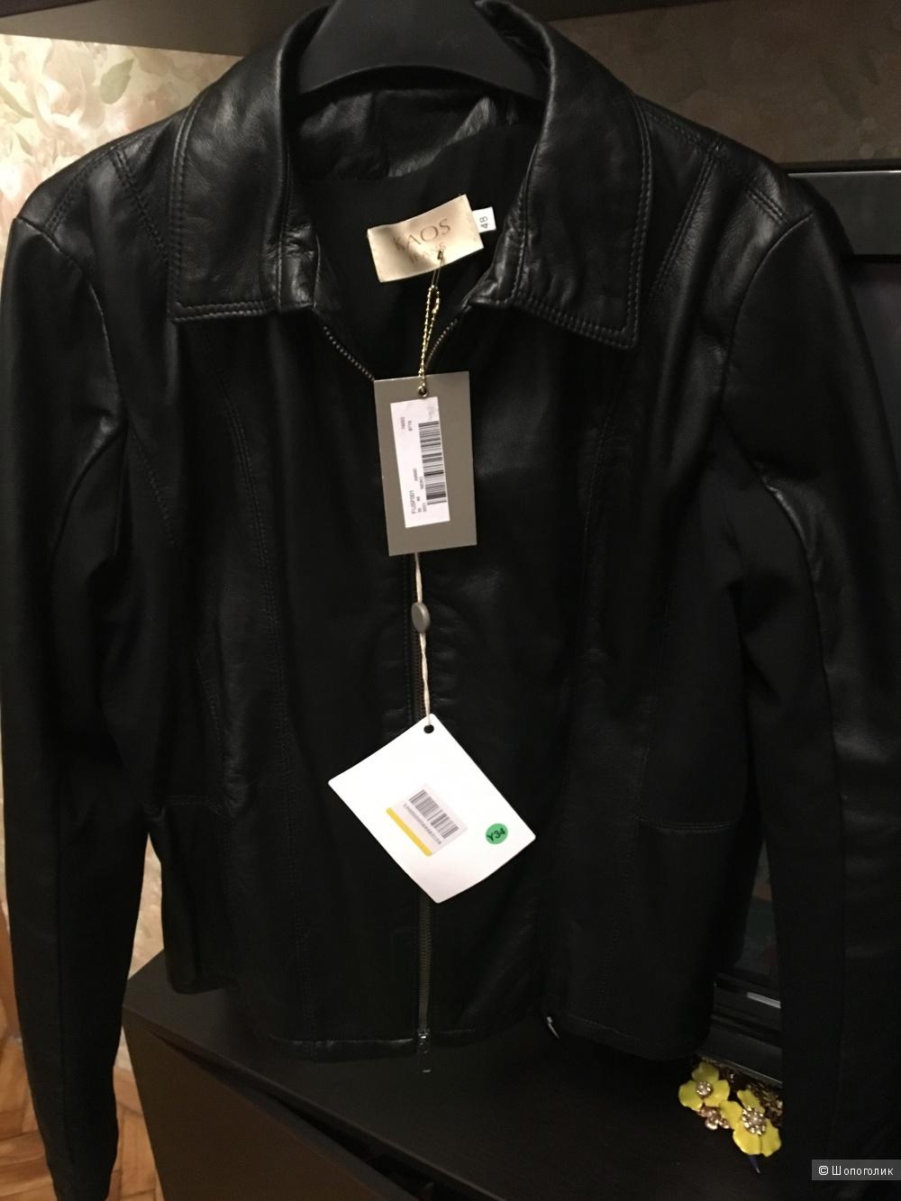 Новая кожаная куртка комбинированная с тканью Kaos размер 48