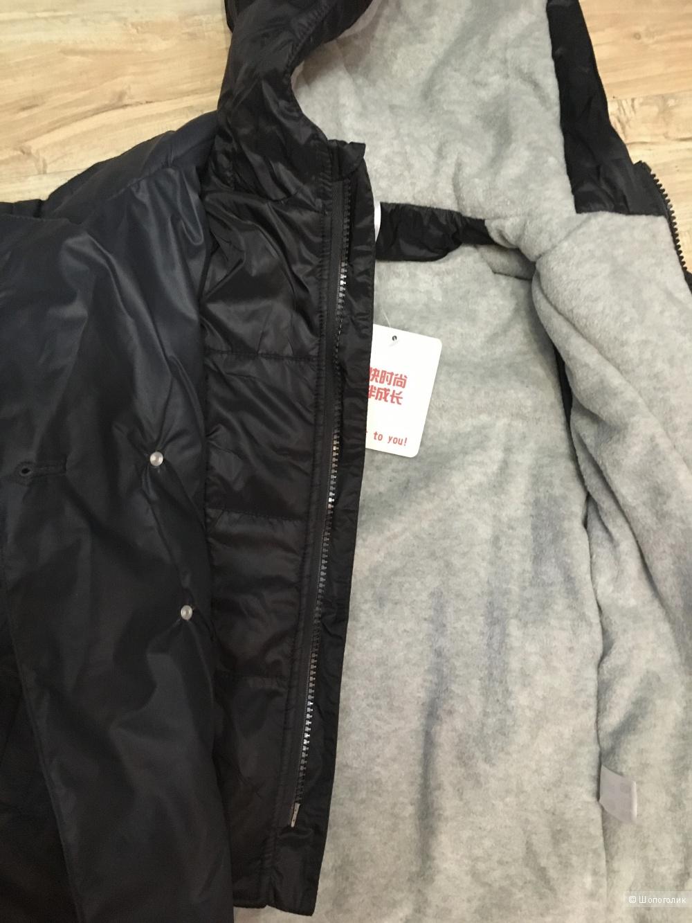 Утепленная куртка на мальчика с эффектом 2в1, на флисе и синтепоне, р. 110/56, на рост до 115
