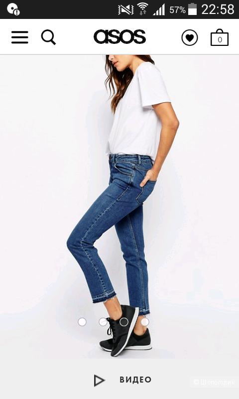 Синие выбеленные джинсы бойфренда с распущенными кромками ASOS Kimmi Shrunken, 28
